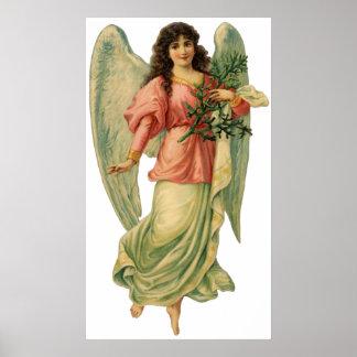 Poster Noël vintage, ange victorien antique