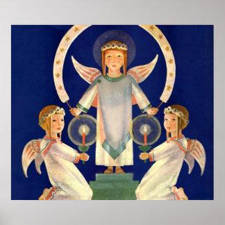 Poster Noël vintage, anges de Père Noël Lucia de
