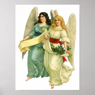 Poster Noël vintage, anges victoriens angéliques