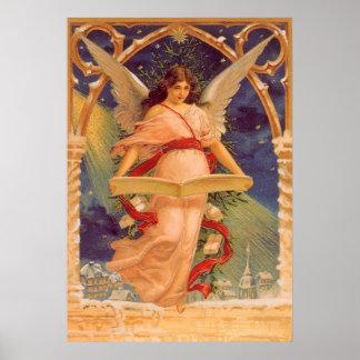 Poster Noël vintage, bible victorienne de lecture d'ange