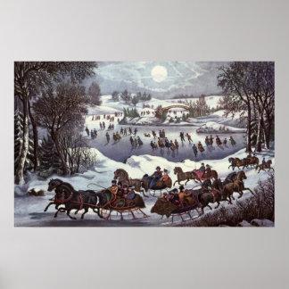 Poster Noël vintage, Central Park en hiver
