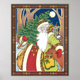 Poster Noël vintage, cerf commun du père noël dans la