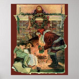 Poster Noël vintage, enfants victoriens du père noël