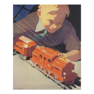 Poster Noël vintage, garçon jouant avec des trains de