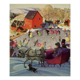 Poster Noël vintage, histoires d'amour Sleigh