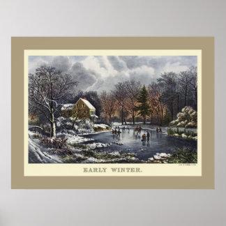 Poster Noël vintage, hiver tôt avec des patineurs de