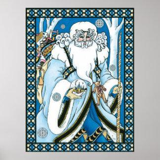 Poster Noël vintage, le père noël bleu avec Snowglobe