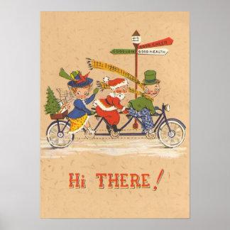 Poster Noël vintage, le père noël montant une bicyclette