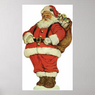 Poster Noël vintage, le père noël victorien avec des