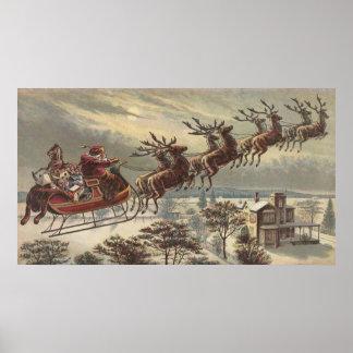 Poster Noël vintage, le père noël victorien dans Sleigh
