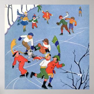 Poster Noël vintage, patinage de glace d'enfants sur un