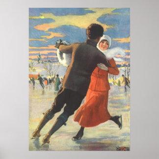 Poster Noël vintage, patinage de glace romantique de