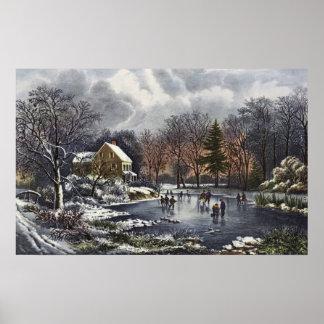 Poster Noël vintage, premiers patineurs d'hiver sur