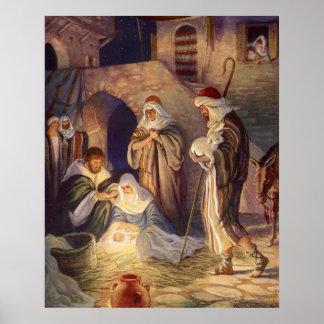 Poster Noël vintage, trois bergers et bébé Jésus