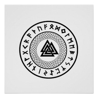Poster Noeud de Valknut - de Wotans - Odin Rune