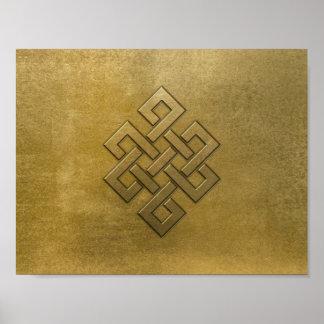 Poster Noeud sans fin de relief d'or