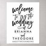 Poster Noir en lettres de signe bienvenu de mariage de