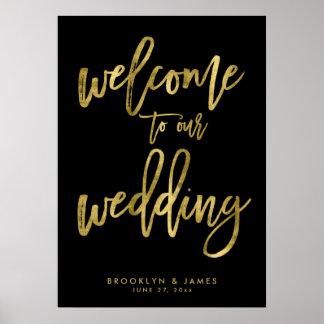 Poster Noir et accueil d'or à notre signe de mariage