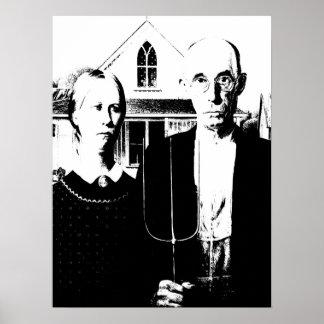 Poster Noir et blanc gothique américain