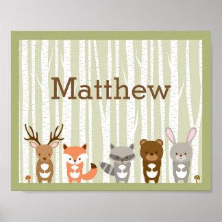 Poster Nom animal de crèche de forêt de région boisée
