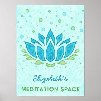 Poster Nom du zen | de fleur de Lotus bleu de l'espace de