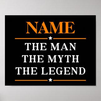 Poster Nom personnalisé l'homme le mythe la légende