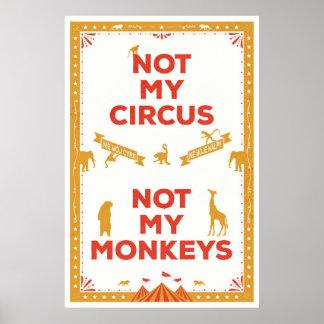 Poster Non mon cirque, non mes singes
