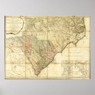 Poster Nord et carte de la Caroline du Sud (1775)
