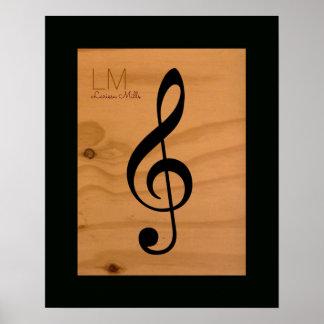 Poster note musicale, clef triple sur le bois, coutume