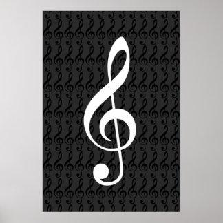 Poster notes de musique, clef triple, b&w graphique frais