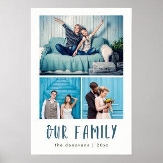 Poster Notre grille moderne de trois photos de la famille