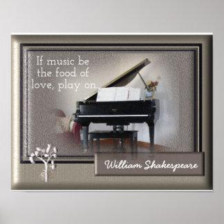 Poster Nourriture de l'amour - citation de Shakespeare -