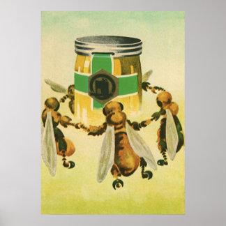 Poster Nourriture vintage, abeilles organiques de miel