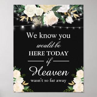 Poster Nous savons que vous seriez ici floral blanc de