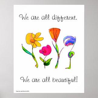 Poster Nous sommes tous diversité différente et belle