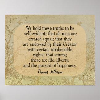 Poster Nous tenons ces vérités - citation de Jefferson -