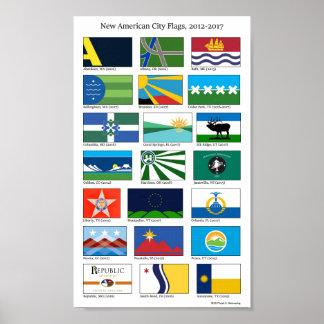 Poster Nouveaux drapeaux américains de ville, 2012-2017