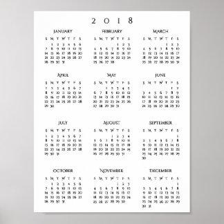 Poster Nouvelles années de 2018 de calendrier de bureau