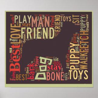 Poster Nuage du mot de l'amoureux des chiens