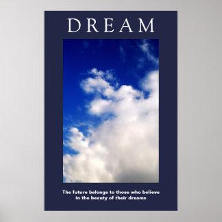 Poster Nuages de motivation rêveurs, attitude de ciel