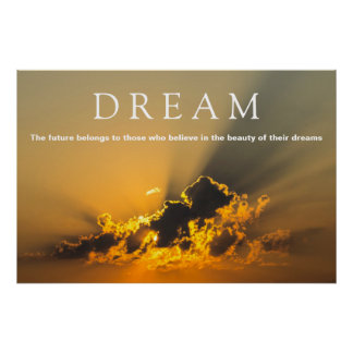 Poster Nuages de motivation rêveurs, ciel et coucher du