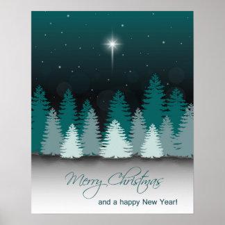 Poster Nuit d'hiver avec l'étoile de Bethlehem - copie