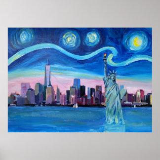 Poster Nuit étoilée à New York Manhattan