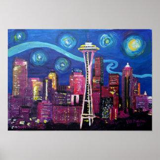 Poster Nuit étoilée à Seattle