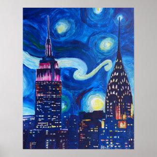 Poster Nuit étoilée dans des inspirations de New York -