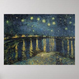 Poster Nuit étoilée de Vincent van Gogh   au-dessus du