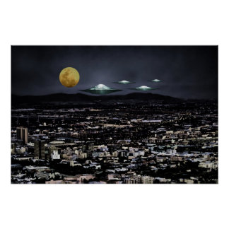 Poster Objet de vol d'UFO dans l'espace