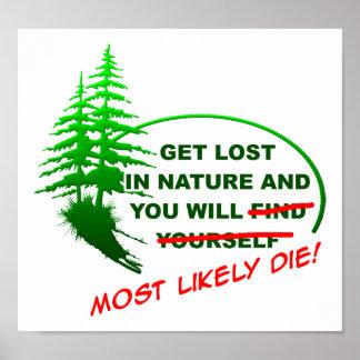 Poster Obtenez perdu dans l'affiche drôle de forêt