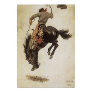 Poster Occidental vintage, cowboy sur un cheval