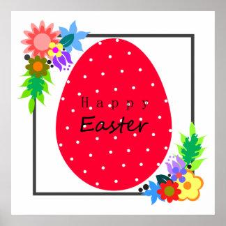 Poster Oeuf de pâques mignon de point de polka avec la